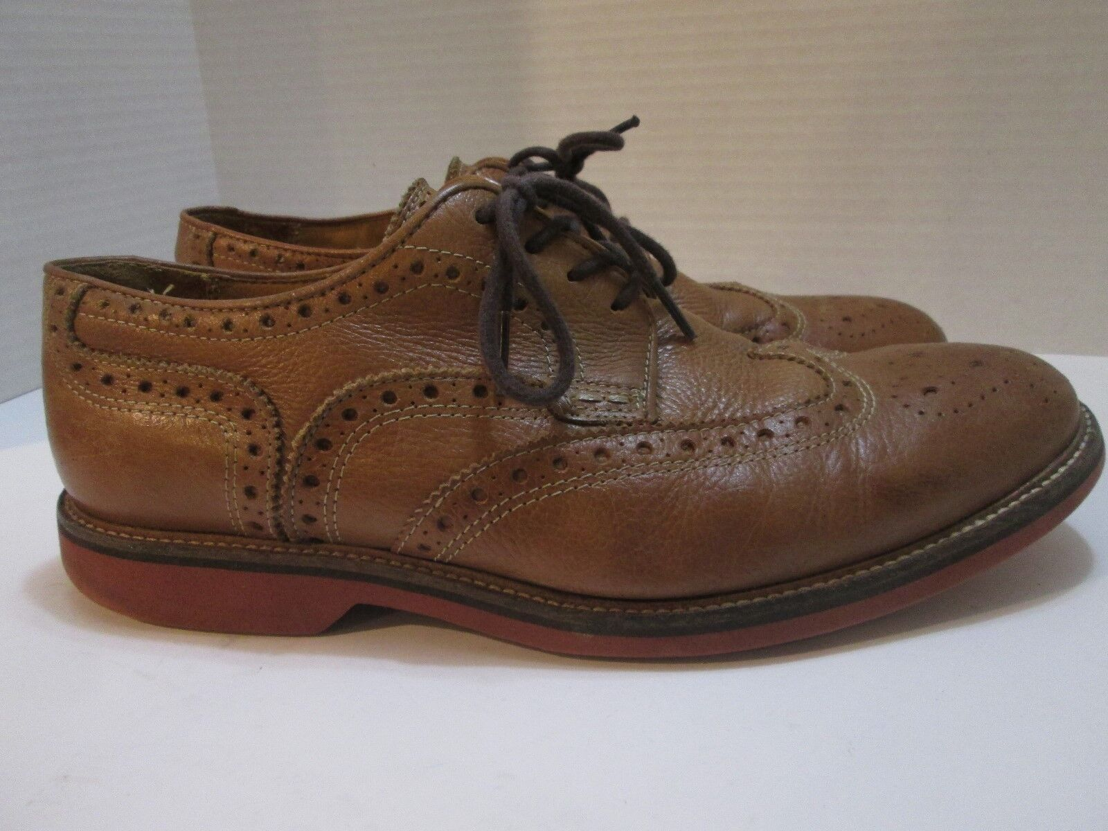 1901 Lace Up Leather Wingtip Oxfords Brown Men Sz 10 M