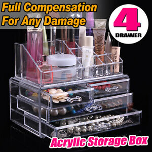 Clear Acrylic Makeup Holder Cosmetic Organizer 4 Drawer Storage