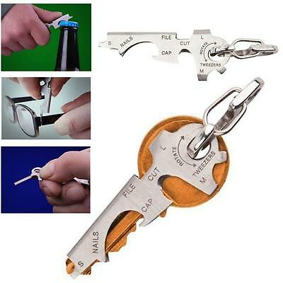 8-in-1 Keychain Gadget Utility Key Ring EDC Multi-function Pocket Tool Silver BS