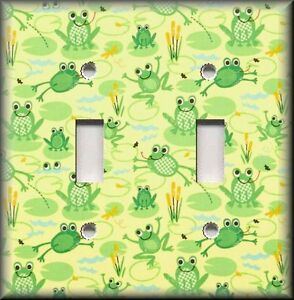 Metal Light Switch Plate Cover - Happy Frogs Home Decor Green Frog Home Decor