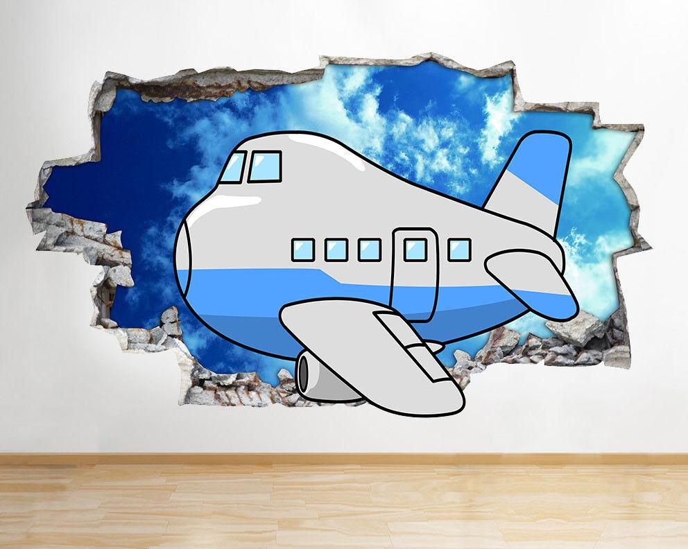 M765 Avion enfants Nursery ciel Smashed mu Autocollant Chambre 3D Vinyle enfants