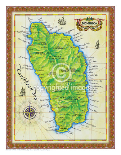 """19.5 x 25/"""" Dominica Vintage Look Map Printed on Frenchtone Parchment Paper"""