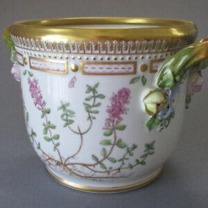 Royal Copenhagen Porcelain FLORA DANICA Botanical CACHE POT w Encrusted Flowers