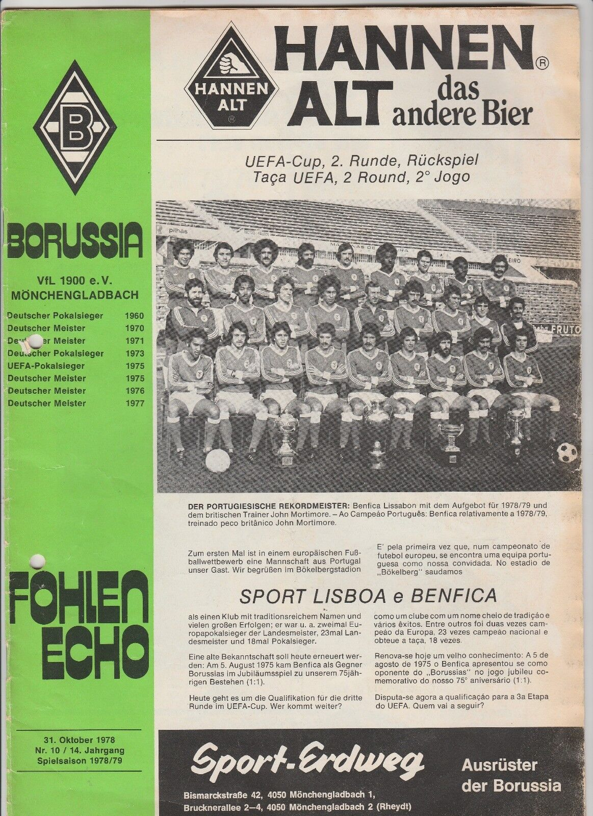 Orig.PRG   UEFA Cup 1978 79  BORUSSIA MÖNCHENGLADBACH - BENFICA LISSABON     TOP  | Mangelware