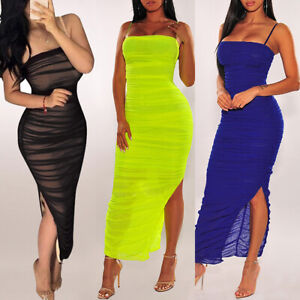 Women-Sling-Pleated-Slit-Sexy-See-Through-Bodycon-Evening-Party-Cocktail-Dress