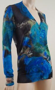CHRISTOPHER-KANE-RUNWAY-Blue-Green-Floral-Print-Silk-Wool-Cardigan-Sz-L-BNWT
