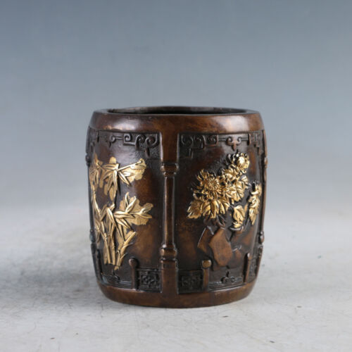Chinese Exquisite Gilt Copper Meilan bamboo chrysanthemum Brush pot HLJ0022