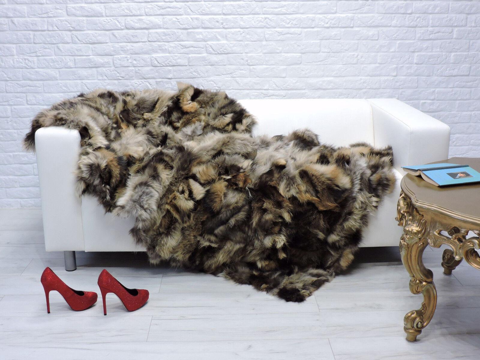 Luxus Echt Fuchs Fell Überwurf Decke Gemischt Braun  196