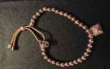 MICHAEL KORS Rose Gold Tone Beaded Leather Stretch Bracelet, FREE SHIPPING!
