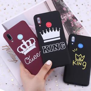 King Queen Crown Luxury Couple case for Xiaomi Mi Redmi Note 7 8 9 lite Pro Plus
