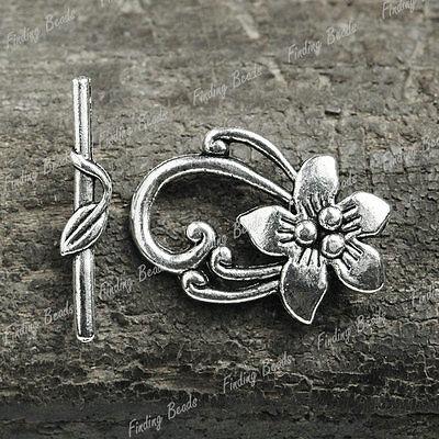 20 sets Tibetan Silver Flower DIY Clasps Finding TS1362