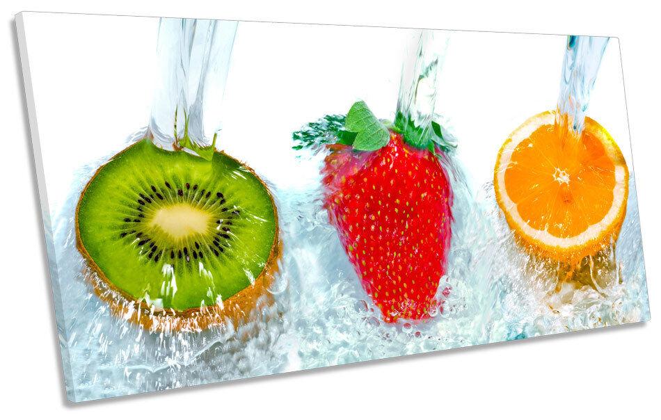 Fruit Kitchen Splash BOX FRAME CANVAS Kunst PANORAMIC Bild