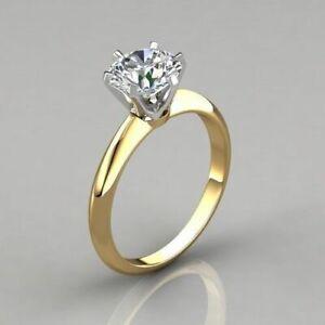 Certified-6MM-White-Round-Diamond-Engagement-Wedding-Ring-In-14K-Yellow-Gold