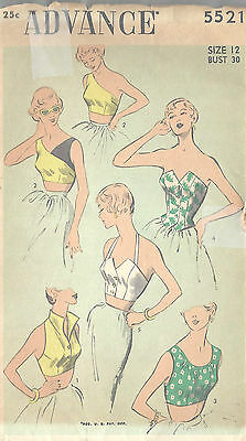 1950s Vintage Sewing Pattern B30 TOPS (R855)
