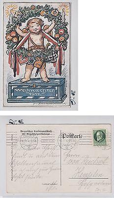 PostkarteWeihnachten 1914 Kind mit Adventskranz sign.Stockmann, gelaufen -PO076