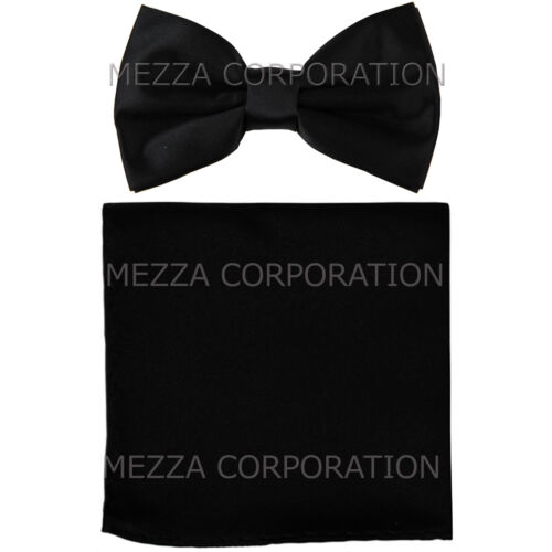 New formal Men/'s polyester pre-tied bow tie/_hankie solid black wedding work prom