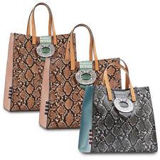 Borse donna MANILA GRACE Felicia Shiny borsa pitonata tracolla shopping bag