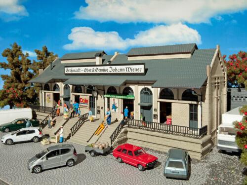 grandes mercado frutas y hortalizas embalaje original nuevo edificio kit 1:87 Vollmer 3629