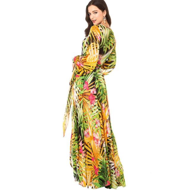 Women V-Neck Tropical Boho Floral Print #L Chiffon Maxi Beach Long Full Dress