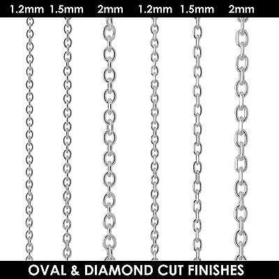 925 Sterling Silver DIAMOND CUT TRACE Chain Necklace 1.2mm