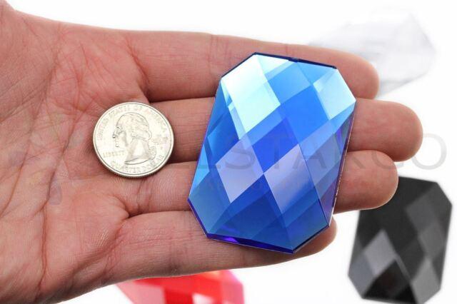Pro Grade 2 Pieces Lead Free 45mm Blue Sapphire H104 Large Acrylic Rhinestones