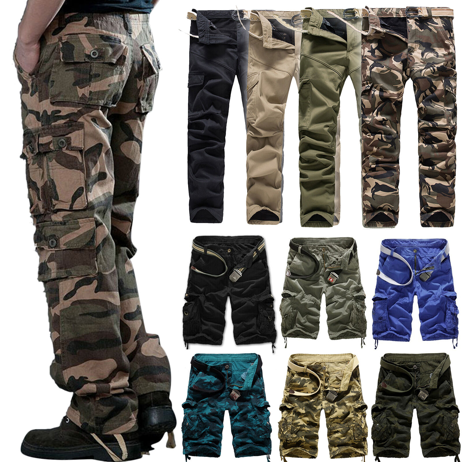 Men's Military Army Combat Trousers Tactical Work Hiking Cam