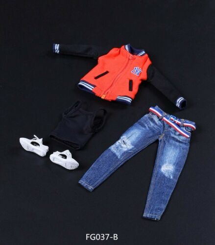 New 1//6 Scale Woman Baseball Clothes Jeans Sports Shoes Set For 12/'/' Figure Body