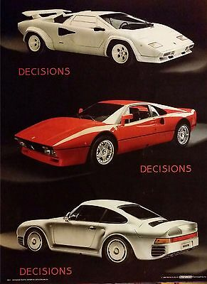 Vintage Ferrari Porsche Lamborghini Countach 959 Car Poster OG 1986 SEALED!