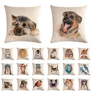 Animal Lion Giraffe Tiger Dog Pillow Cases Square Sofa Cushion Cover Home Decor