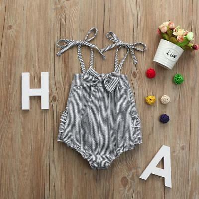 Infant Baby Girls Striped Seersucker Bubble Straps Ruffle Layers Bowknot Romper