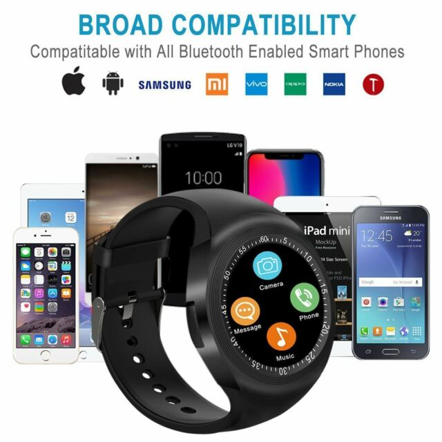0a7503a3aa745e Y1 Sports Round Bluetooth Smart Watch Pedometer Sim for Android IOS  Smartphones