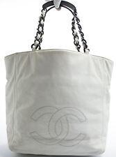 CHANEL Tasche Bag Shoulder Bag Shopper Schultertasche Leder Weiss white Rare