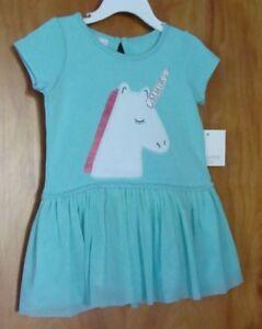 07d4e7515d5 Details about Girls FALLS CREEK Mint Green Knit   Mesh Dress Sz 2T with  Unicorn ~ NEW w  Tags