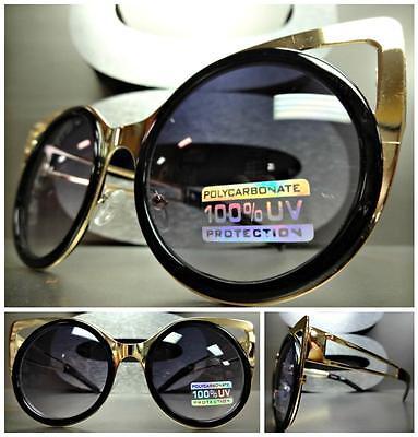 New VINTAGE 60's RETRO Bold Unique CAT EYE Style SUN GLASSES Gold & Black Frame