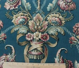 French-Antique-19thC-Cotton-Tapestry-Fabric-Sample-Dark-Teal-L-16-034-X-W-25-034