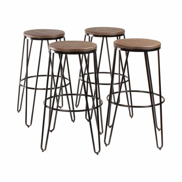 Fine Tully Backless Modern Two Toned Wood And Metal Bar Stools Set Of 4 Dailytribune Chair Design For Home Dailytribuneorg