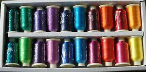 Marathon Viscose Rayon Embroidery Machine Thread 20 x 1,000m Spools MB - Brights