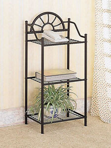 3-Tier-Black-Sunburst-Metal-Shelf-Book-Shelf-Utilitarian-Design-Free-Shipping