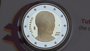 2-euro-fdc-2019-ITALIA-500-Leonardo-da-Vinci-italie-italy-italien-W-ochy