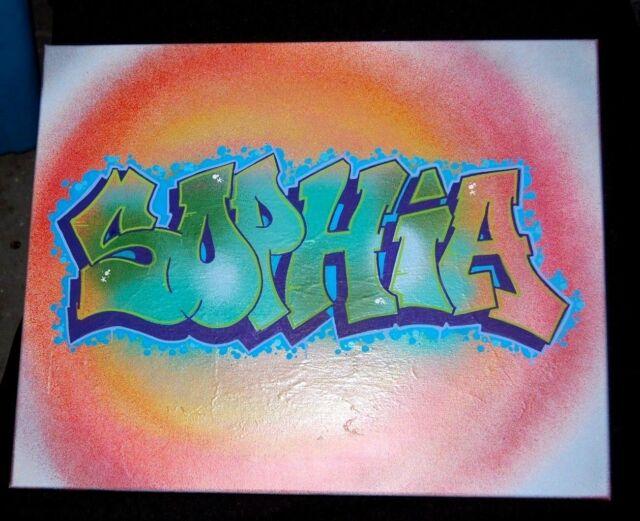 SOPHIA  Graffiti Art 16 x 20 Spray Paint and Acrylic Marker on Canvas
