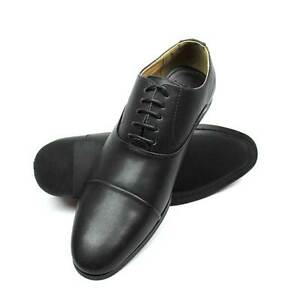 New Mens Dress Solid Black Cap Toe Lace Up Oxford New Fashion By AZAR MAN