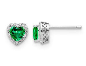 4/5 Carat (ctw) Created Emerald Heart Earrings Sterling Silver
