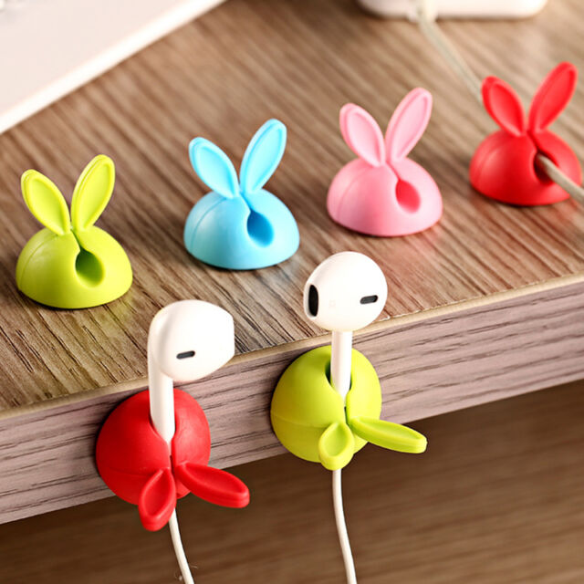 4Pcs Rabbit Cable Desk Tidy Organiser Wire Cord USB CellPhone Charger Holder New