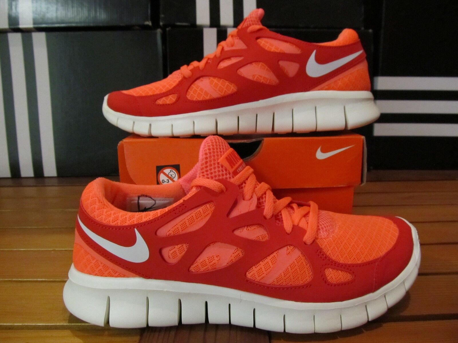 Neu Damen Nike Free Run 2 B-Ware Mango Rot Orange 6.5 443816 806 Laufschuhe