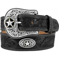 Justin Western Mens Belt Leather Black Star Tooled Made In The Usa C12423