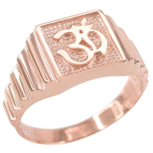 100% QualitäT Solid 14k Rosegold Om Aum Hindu Hum Brahman Yoga Yogi Herren Ring Online Shop