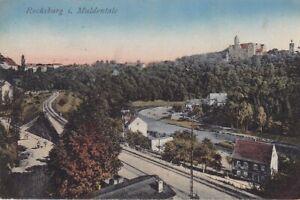 uralte AK Rochsburg im Muldental Schienen Eisenbahnstrecke 1922 //18