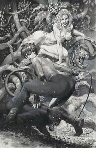 Lan Medina Poison Ivy and Catwoman Pinup Original Art