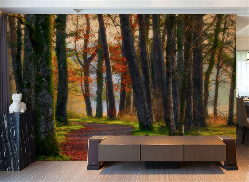 Autumn Forest Water Farbe Paint Full Wall Mural Photo Wallpaper Print  3D Decal