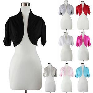 Womens Plus Size Bolero Shrug Cardigan Top Solid Shirred Short ...